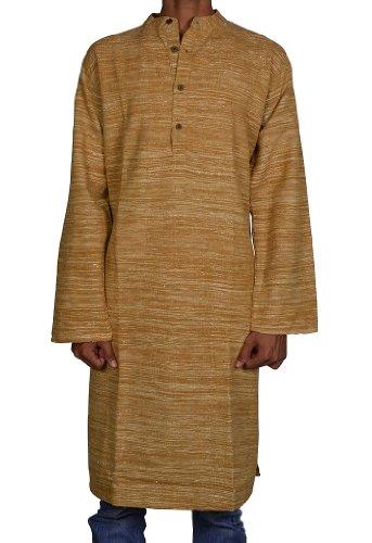 Handmade Casual Indian Khadi Mens Long Kurta Fabric For Winter & Summers Size XXL