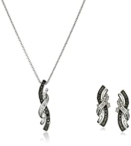 Sterling Silver Black and White Diamond Pendant and Earrings Box Set (1/6 cttw), 18