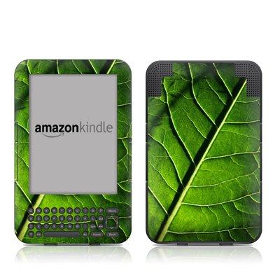 Green Leaf Design Protective Decal Skin Sticker For Amazon Kindle Keyboard / Keyboard 3G (3Rd Gen) E-Book Reader - High Gloss Coating