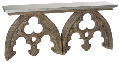 Cheap Gothic French European Cathedral Arch Console Table Tin Top (F8)