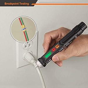 Non-Contact Voltage Tester with Adjustable Sensitivity, LCD Display, LED Flashlight, Buzzer Alarm, Dual Range 12V-1000V/48V-1000V & Live/Null Wire Judgment - Tacklife VT02 (Color: Black, Tamaño: VT02)