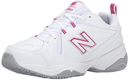 New Balance Women's WX608V4 Training Shoe,White/Pink,8.5 D US