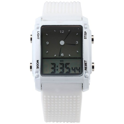 AMPM24 Digital Led Backlight Mens Date Day Alarm Stopwatch White Rubber Watch Gift