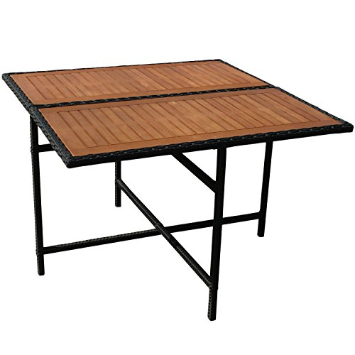 Gartentisch Holz Quadratisch ~   Faro Gartentisch aus Holz FSC zertifiziert und Polyrattan quadratisch