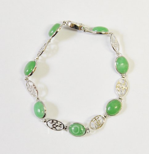 Sterling Silver And Green Jade Bracelet 7 Inches Round