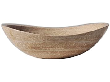 Honed Beige Travertine Natural Stone Canoe Vessel Sink