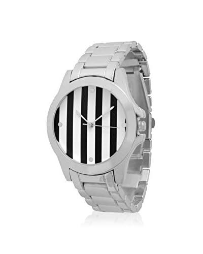 Olivia Pratt Women's 12832 Boyfriend Silver/Black/White Stripes Alloy Watch