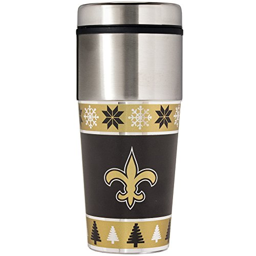 NFL New Orleans Saints Ugly Sweater Travel Tumbler, One Size/16 oz, Gold