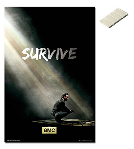 Bundle - 2 Items - The Walking Dead Poster - Survive - 91.5 x 61cms (36 x 24 Inches) and Small Block Of White Tack