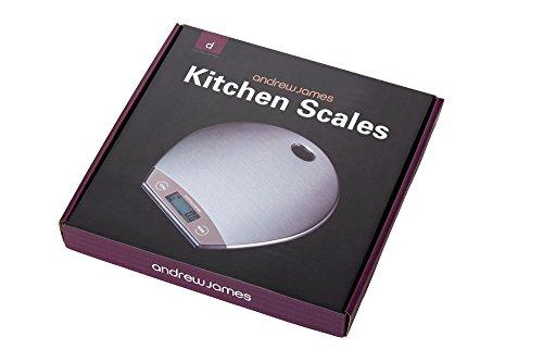 Andrew James - Balance De Cuisine Numérique en Design Ultra Svelte avec Plateforme en Acier Inox & Trou D'Accrochage - Pile Inclus - 2 Ans Garantie