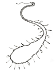 M&S Collection Metal Spike & Diamanté Long Necklace