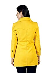 JAMES SCOT-Full Sleeves Solid Yellow Colour Woolen Winter Wear Long Coat For Womens