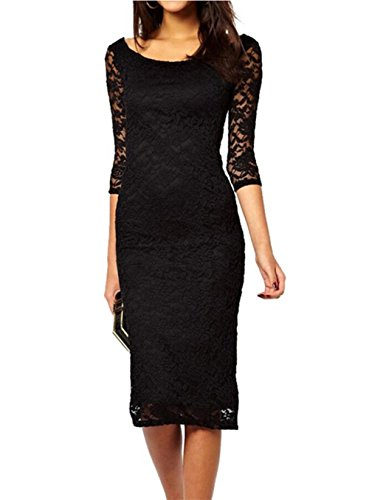 Yomoko Women's Retro Lace Floral Overlay 3/4 Sleeve Party Bodycon Midi Dress (Medium, Black)