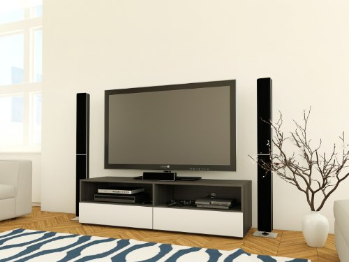 Nexera 220133 Allure TV Stand, 60-Inch, Ebony and White