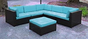 Wicker Outdoor Furniture Sectional Sofa Set - Blue Cushions : Outdoor