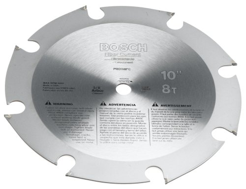 Bosch PRO108FC 10-Inch 8 Tooth FTG Fiber Cement Saw Blade with 5/8-Inch Arbor (Bosch Radial Arm Saw compare prices)
