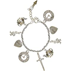 Alice in Wonderland Charm Bracelet, in Burnished Silver