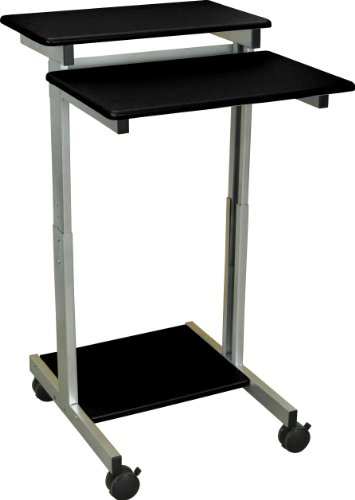 "24"" Black Shelves Adjustable Mobile Stand Up Presentation Station (Black Shelves/Silver Frame)"
