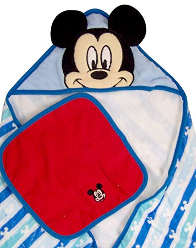 ''Mickey Mouse Hooded BATH TOWEL with Red Wash Cloth Set, 30 Inch''