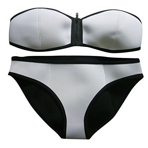 Pinkyee Women's Damen Tauchanzug-Material (Neopren, mit Reißverschluss-Kabel, Bikini Set Badeanzug Gr. 10, Weiß - Weiß