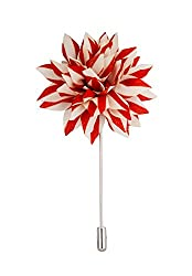 Avaron Projekt Handmade Red And White Striped Flower Lapel Pin /Brooch For Men