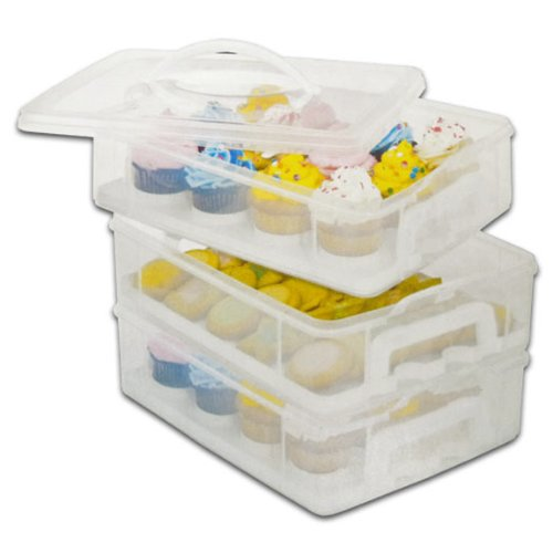 Snapware Snap 'N Stack Cookie and Cupcake Carrier – 3 Layers Holds 36 Cupcakes