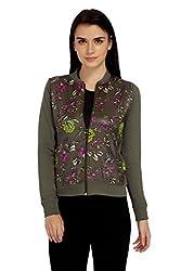 Meish Light Green Cotton Blend Printed Jacket for Women