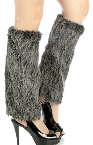Dizanne Fashion Chic Leg Warmers - Faux furry boot cover Black