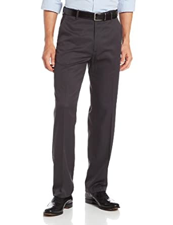 Haggar Men's Micro Herringbone Straight Fit Plain Front Expandable Waistband Dress Pant, Charcoal,32x30