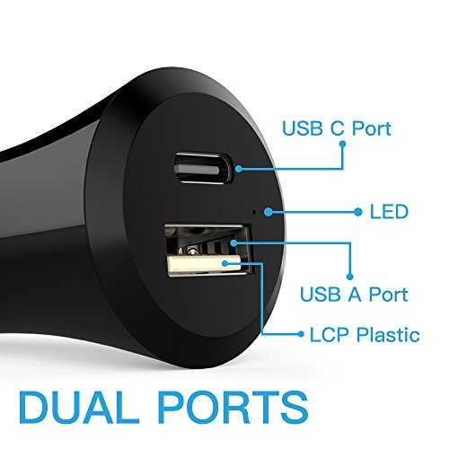 Cambond USB Type C Car Charger - USB C and USB A Charger with Smart Sense IC for Nexus 6P - Nexus 5X - Lumia 950 - Lumia 950XL - iPhone SE - iPhone 6 iPhone 6s - iPad - and other Android Mobiles Black
