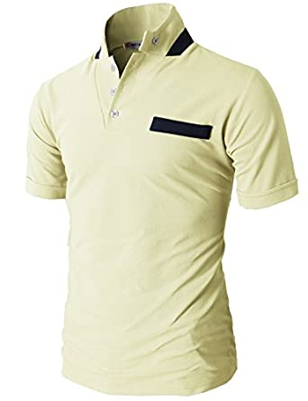 H2H Men's Pique T-shirts with Mandarin Stand Collar Non Pocket YELLOW US S/Asia M (JDSK70)