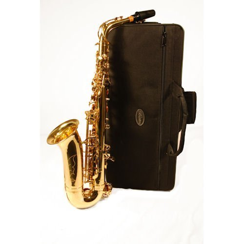 Barcelona Alto Saxophone with Case, Reeds, Cleaning Rod, Polishing Cloth, Gloves, and Cork Wax - Gold Plated