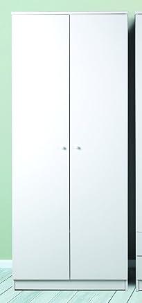 Armadio a 2 ante con barra porta abiti in bianco liscio