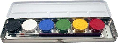 Eulenspiegel 206003 - Schminkset Profi Make-up, Schminkpalette aus Metall, Profipinsel, 6 Farben