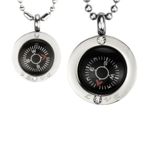 "Direction Of Love Compass Stainless Steel Pendant Necklace Set 16"" & 24"""