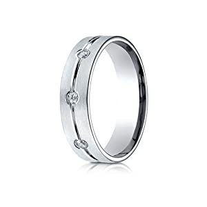 IceCarats Designer Jewelry 14K White Gold 6Mm Comfort-Fit Etched Burnish Set 3-Stone Channel Diamond Ring (.18Ct) Size 7
