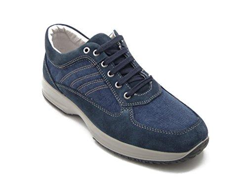 Scarpa uomo Imac, sneaker stringata in pelle scamosciato e tessuto con sottopiede estraibile, estivo, 50502