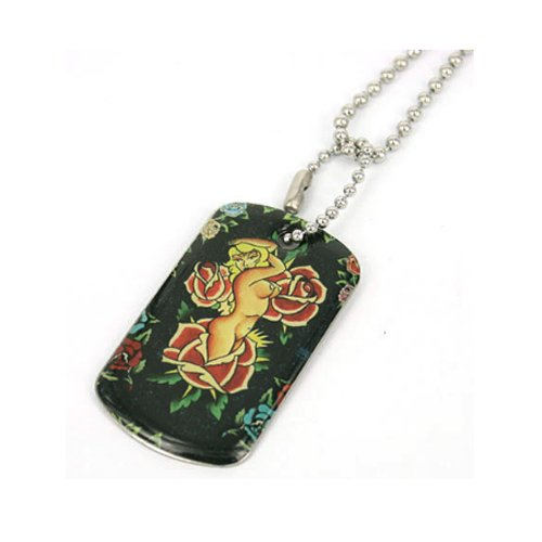Dog tag Pendant Stainless Steel Tattoo Art Girl Red Rose Rectangle Dog Tag with Bead Chain Necklace (1 Piece)