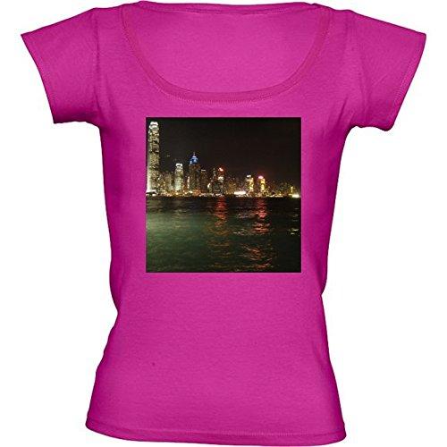 rundhals-rosa-fuchsie-damen-t-shirt-grosse-s-skyline-von-hong-kong-by-cadellin