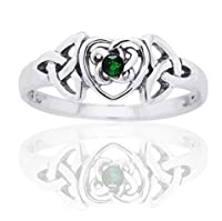 May Birthstone Ring - Sterling Silver Emerald Celtic Trinity Knot Heart(Sizes 4,5,6,7,8,9,10) by Silver Insanity