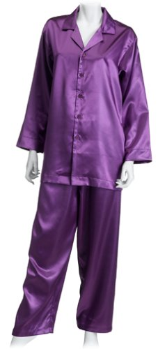 Intimo Women's Poly Charmeuse Pajama Set, Violet, Medium