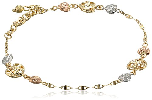 "14K Tri-Color Yellow, White And Rose Gold Hearts Bracelet, 7""+1"" Extender"