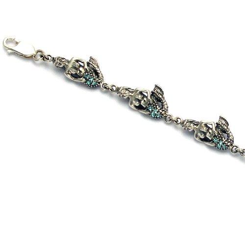 Sterling Silver Mermaid Bracelet  Aqua Swarovski