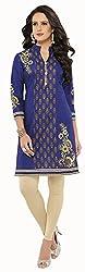 Hrinkar Women's Cotton Kurti Dress Material (HRKT227_Blue)