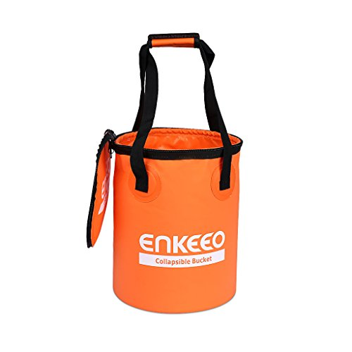 Enkeeo Collapsible Folding Water Bucket with Zippable Cover 13.5L/3.6 Gallon Multifunctional for Fishing Camping Hiking Travel Gardening with Mesh Bag, Water Resistant Fabric, Ultra Portable Shape (Collapsible Water Bucket compare prices)