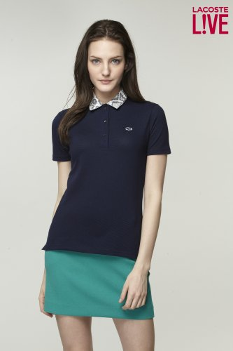 L!VE Short Sleeve Snake Collar Pique Polo