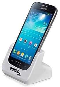 DONZO® Standard USB Dockingstation für Samsung Galaxy S4 mini I9190 & I9195 + USB Datenkabel + Ladegerät Netzteil - weiß