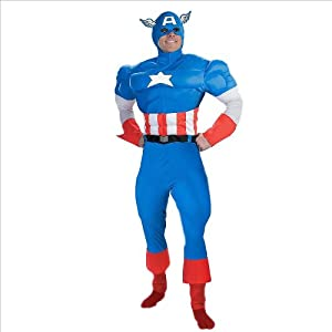 Teen (Young Adult) Marvels Captain America Costume - TM License Adult Deluxe Muscle Chest Costume (Medium)