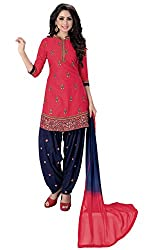 Justkartit Women's Unstitched Red & Blue Colour Embroidery Salwar Kameez For Party & Work Wear / Patiala Style Daily wear Fusion Collection For Women (Diwali 2016 Collection Launch)