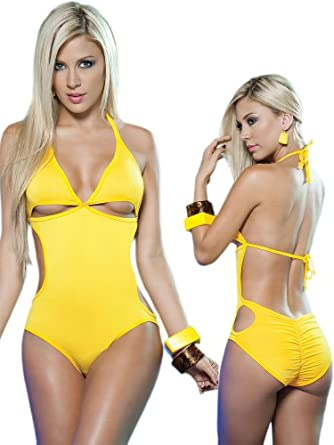 Exotic Yellow One Piece Swimsuit/Dancewear Romper - Extra Large